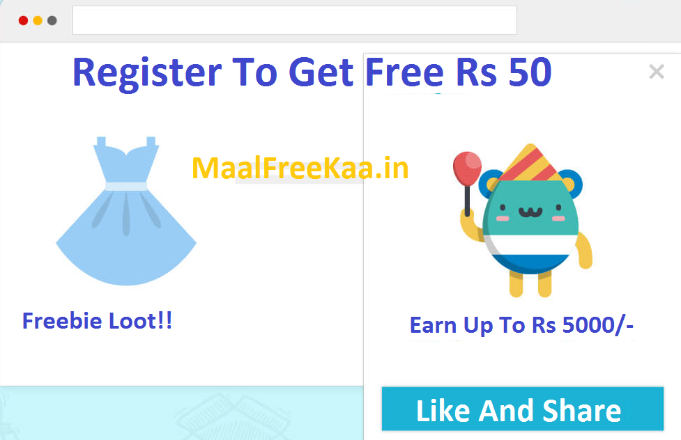 Register To Get Free Rs  50 & Earn Up to Rs 5000 - Freebie