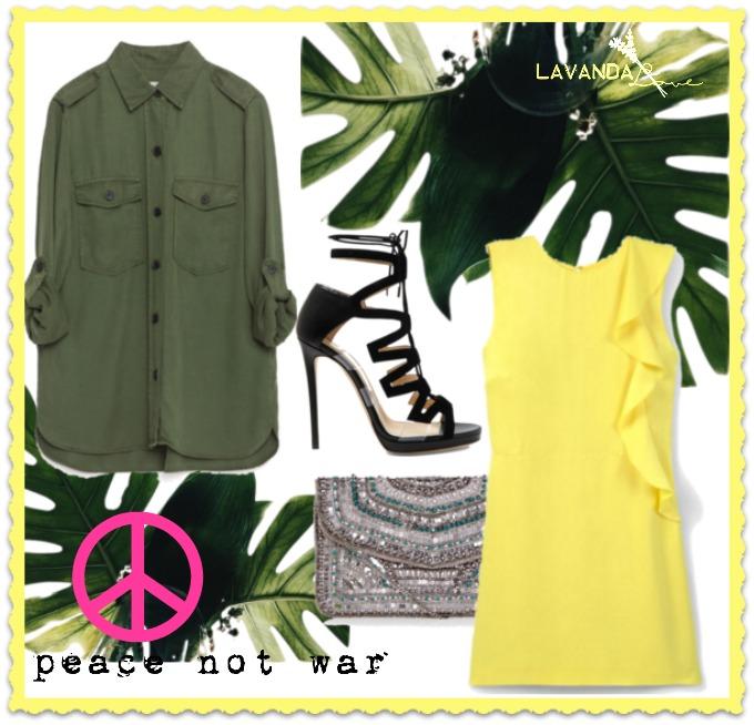 outfit estilo militar para ir de fiesta con vestido amarillo de mango y sandalias de jimmy choo