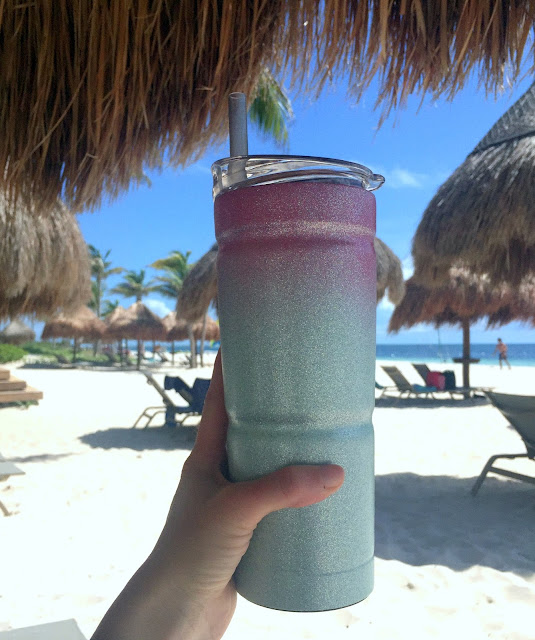 diy glitter yeti cup on the beach