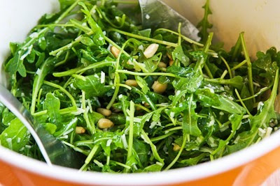 Baby Arugula Salad with Lemon, Balsamic Vinegar, Parmesan, and Pine Nuts [found on KalynsKitchen.com]