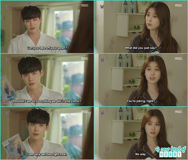 kang chul at yeon jo house and ask him for the 5 kisses they talk about in webtoon - W - Episode 12 Review