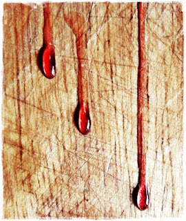 port syrup running down chopping board