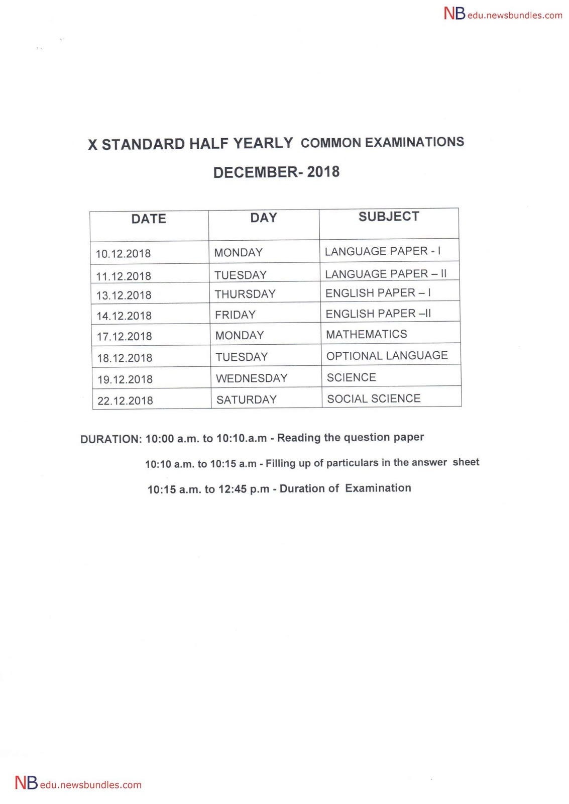 Half Yearly Exam Time Table for 10th, 11th, 12th Standard