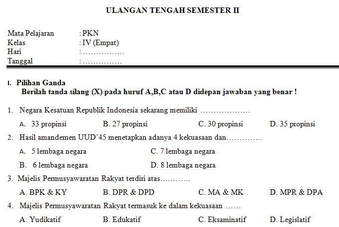 Download Contoh Soal UTS SD/MI Kelas IV Semester 2 Mata Pelajaran PKn Format Microsoft Word