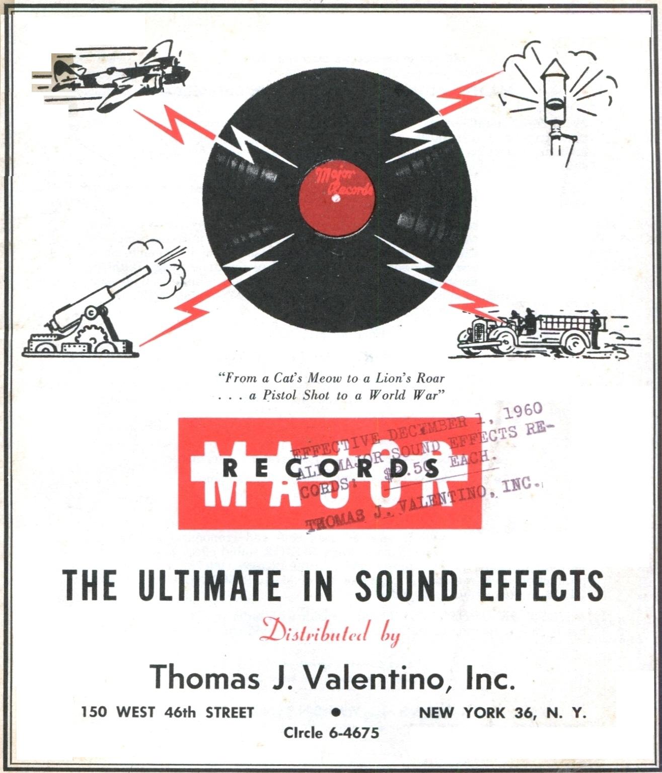 VINTAGE THEATRE CATALOGS: 1960 MAJOR SOUND EFFECTS CATALOG