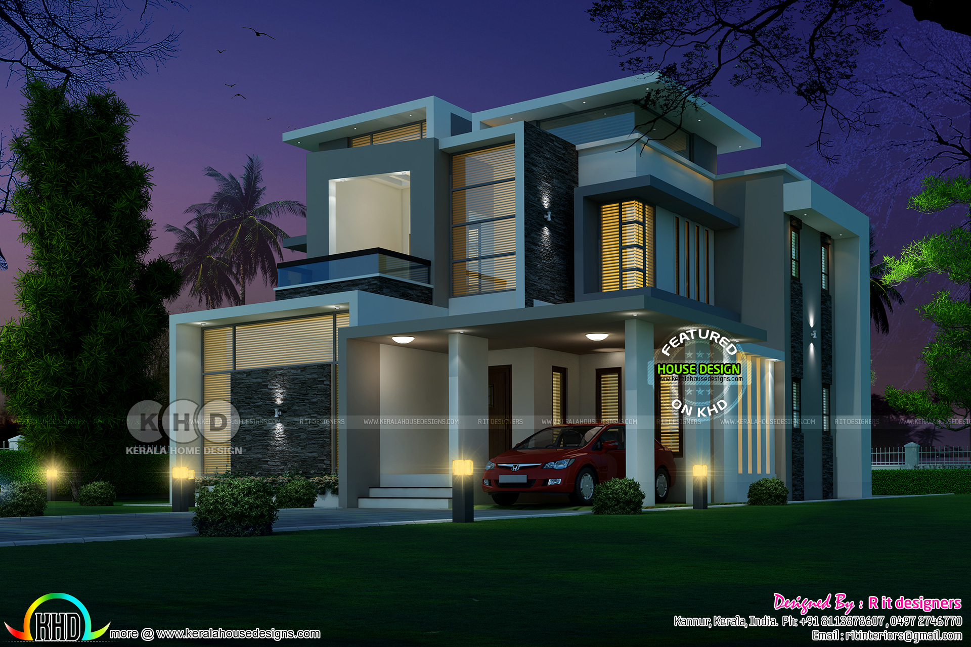 awesome residence contemporary style - View Small Space Small Box Type House Design With Floor Plan Pics