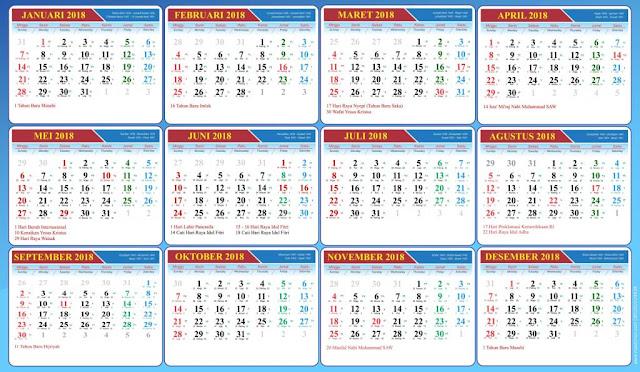 Kalender 2018 file PSD (Photo Shop) GRATIS untuk Desain Grafis anda