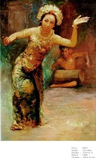 Lukisan Karya Trubus Soedarsono dengan tema Tari Bali