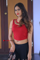 Telugu Actress Nishi Ganda Stills in Red Blouse and Black Skirt at Tik Tak Telugu Movie Audio Launch .COM 0345.JPG