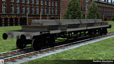 Fastline Simulation: A clean dia. 1/472 Bogie Bolster D with metric weights and small load of steel billets.
