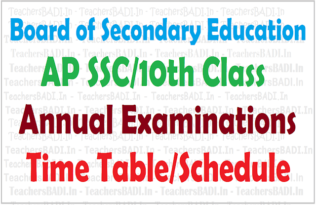 AP SSC, 10th class, Exams Time Table