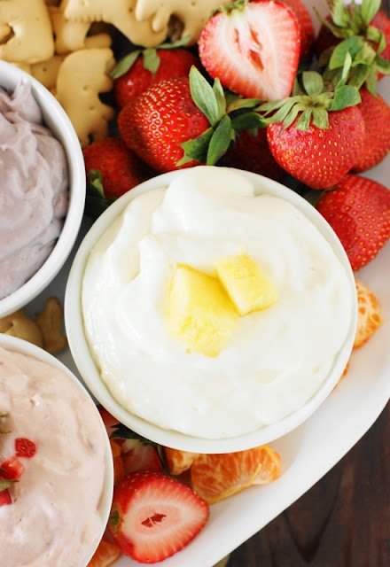 Easy Fruit Dip ~ With just two simple ingredients, whip up this creamy-and-delicious dip in no time flat ... with three flavor choices, too.   www.thekitchenismyplayground.com