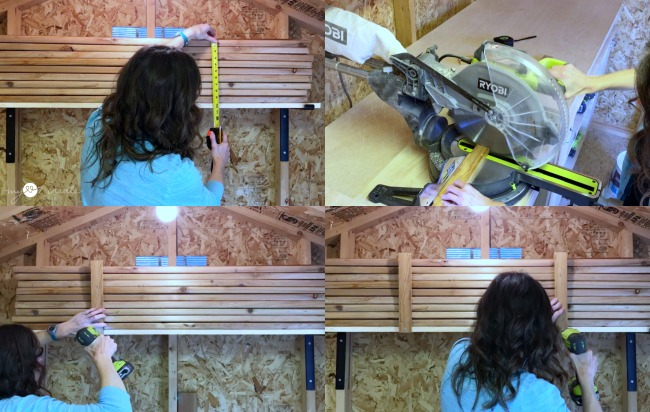 adding lumber braces to shelves