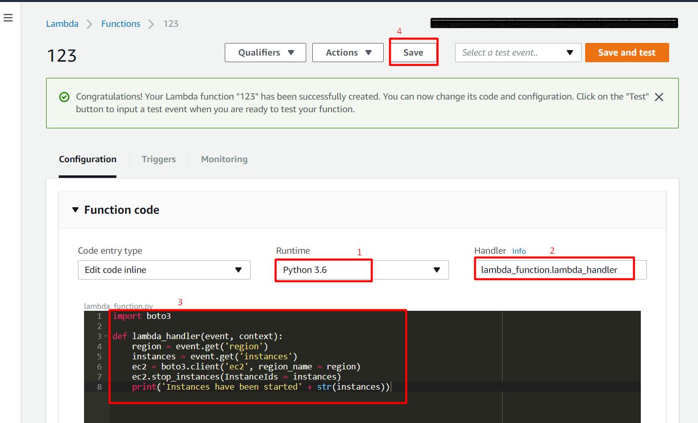 AWS Stop Start EC2 Instances through Lambda AWS (Python