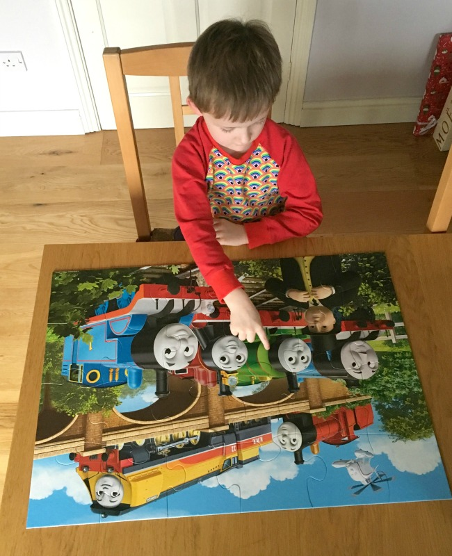 Ravensburger-Thomas-and-Friends-Giant-Floor-puzzle-boy-pointing-at-engine-on-completed-puzzle