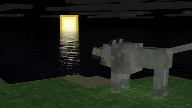 luna reflejada lobo mirando