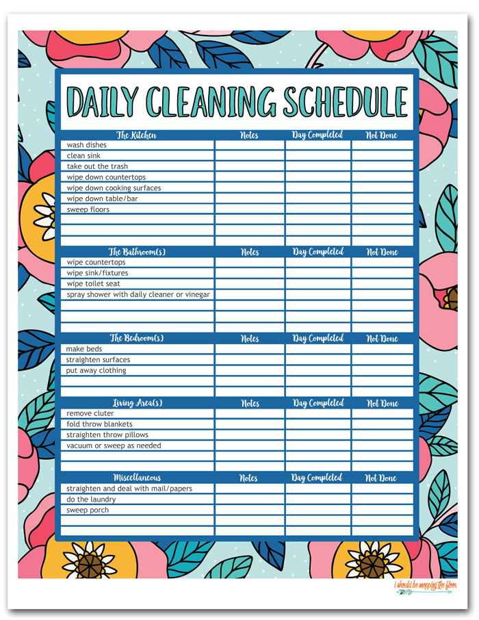 Colorful Daily Cleaning Schedule
