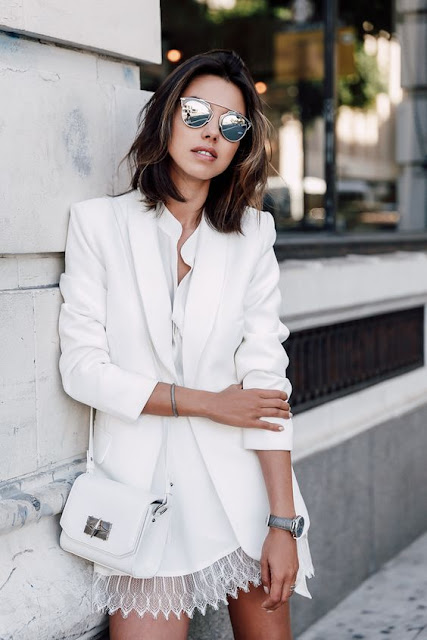 white blazer trend street style