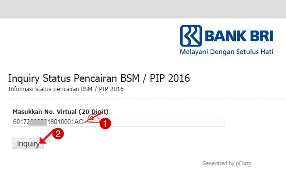 Cara Cek Virtual Account _Inquiry Status Pencairan Dana Bantuan BSM/PIP Siswa SD/SMP/SMA/SMK Tahun 2016
