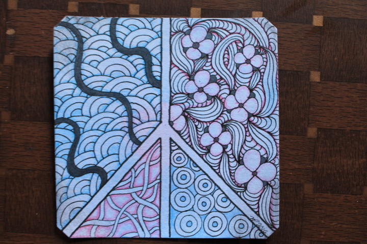Watercolor Zentangle Peace