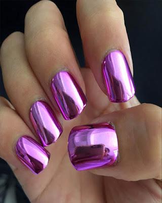 diseño de uñas espejo rosa