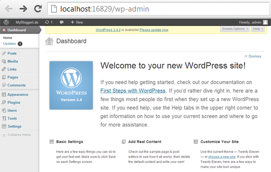 WordPress Admin Panel on Localhost