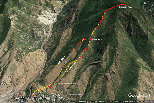 trail map for the West Ridge of Grandeur Peak
