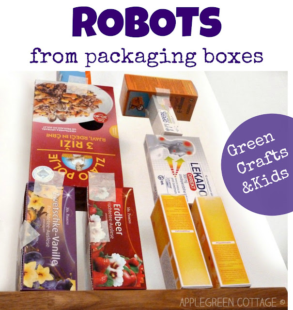 fun robot crafts for kids - repurposing packaging boxes