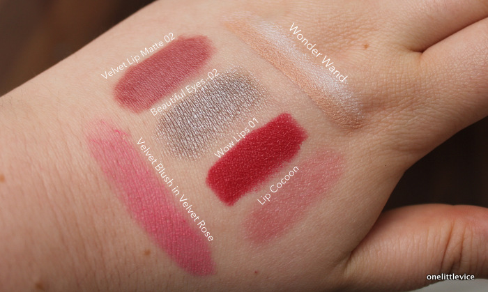 one little vice beauty blog: lip, cheek and eye makeup swatches from bagsy beauty