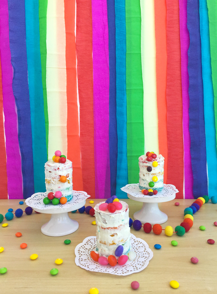 Mini vanilla rainbow cakes spring, birthday, lgbt pride, colorful, candies, dessert, parties