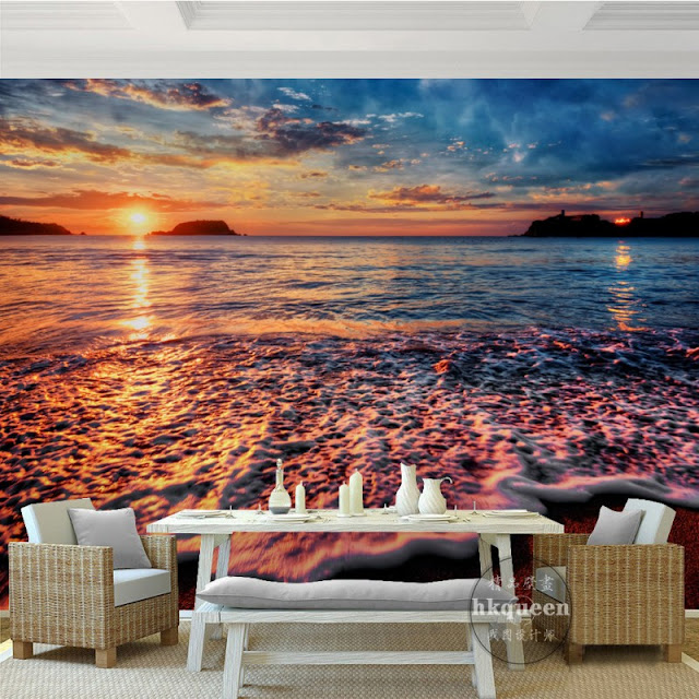 beach wall mural ocean waves wallpaper tropical mural nature landscape wallpaper beautiful sunset on the beach 3D photo mural for bedroom living room