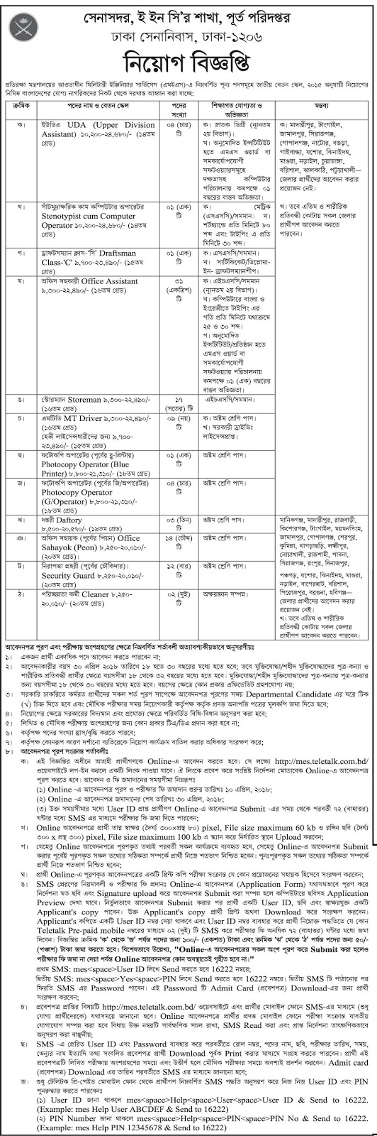 Military Engineer Services (MES) Job Circular 2018