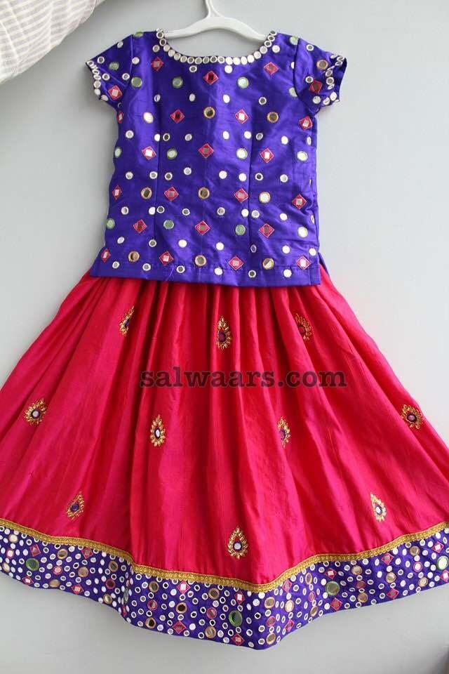 Pink Mirror Work Lehenga Indian Dresses