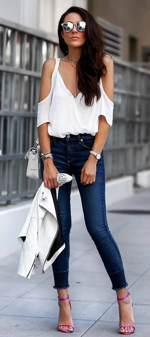 white and denim outfit idea