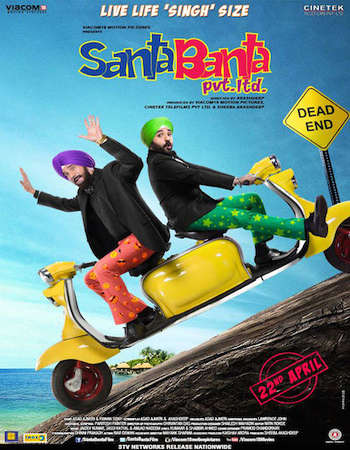 Poster Of Santa Banta Pvt Ltd 2016 Hindi 150MB pDVD HEVC Mobile Watch Online Free Download Worldfree4u