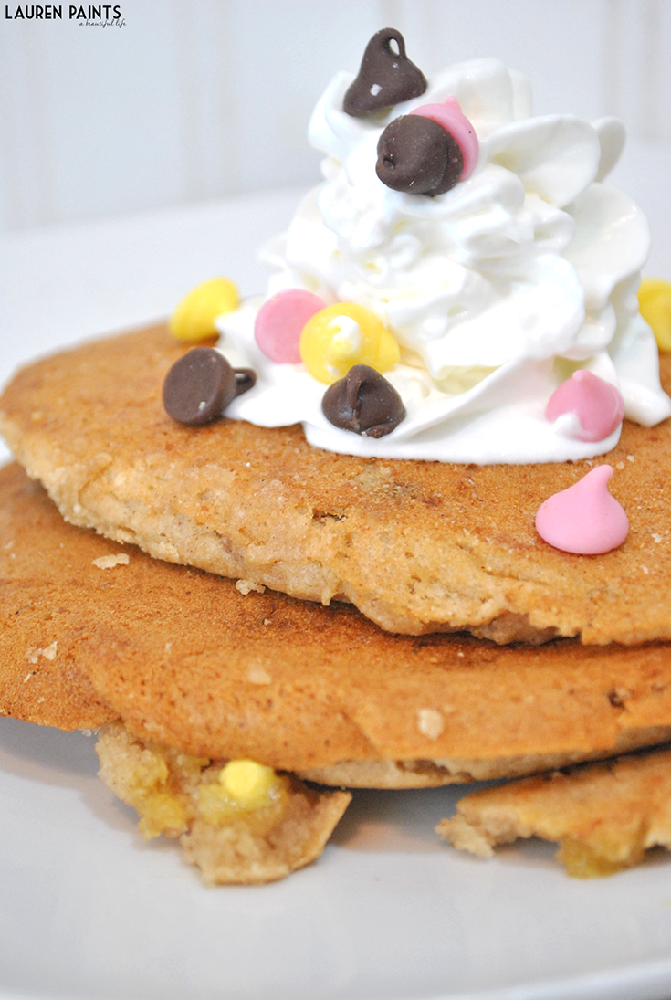This awesome gluten-free, wheat-free, dairy-free, soy-free (but definitely not taste-free) chocolate chip, banana pancake recipe is so easy to make and SO delicious!