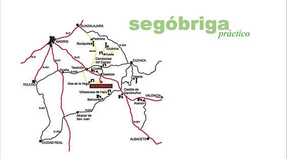 Mapa de carreteras de como llegar a Segobriga