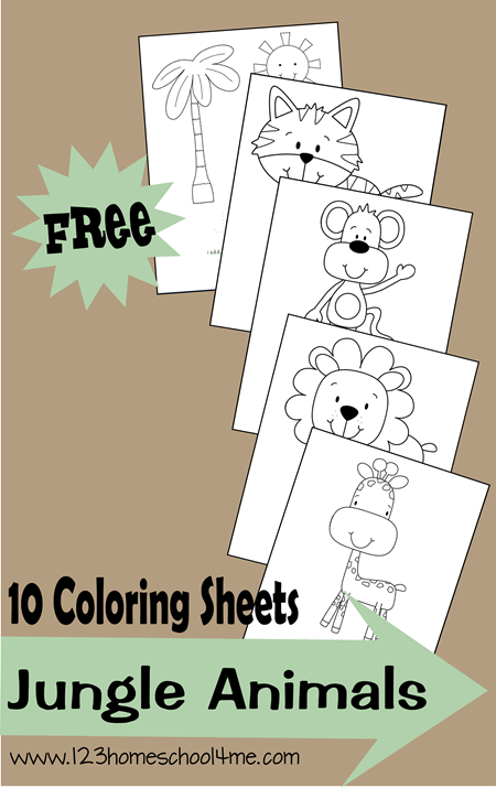 Coloring Sheets – Jungle Animals