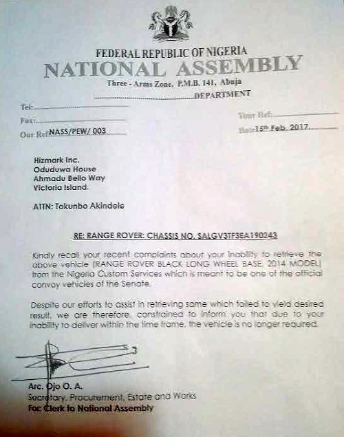 Saraki SUV Scandal: National assembly letter cancelling the car deal