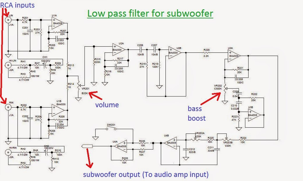 electronics4u: Low pass filter for subwoofer