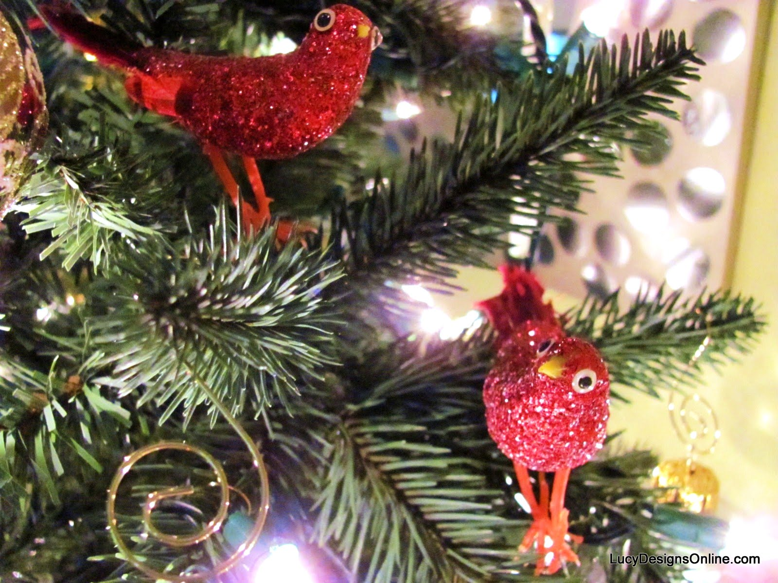 vintage red glittered Christmas ornament birds