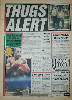 Back page of a vintage Sunday sport newspaper from 31st May 1987
