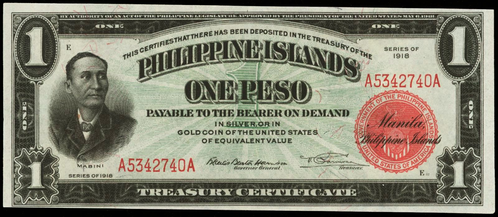 Philippine banknotes 1 Peso note 1918