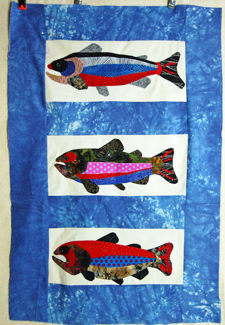 trout quilt top in progress