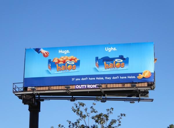 Hugs Ughs Halos billboard