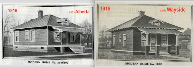 side by side comparison of 1916 catalog image of Sears No 107 and Sears No 107B