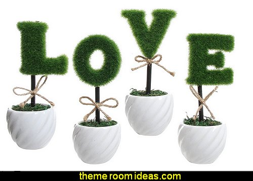 LOVE Decoration White Ceramic Green Hedge Artificial Plant Set