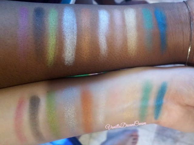 swatches of all ten colors on light and dark skin tone