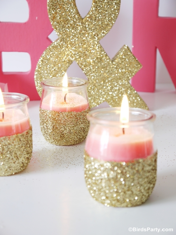 diy pink candles and glitter candle holders party ideas. Black Bedroom Furniture Sets. Home Design Ideas