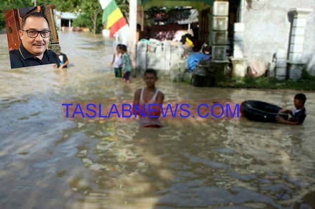 Banjir yang melanda rumah warga di Asahan.